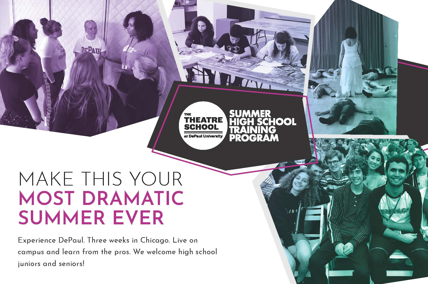 Summer High School Training Program Brochure - collage of pictures from 2018 summer cohort