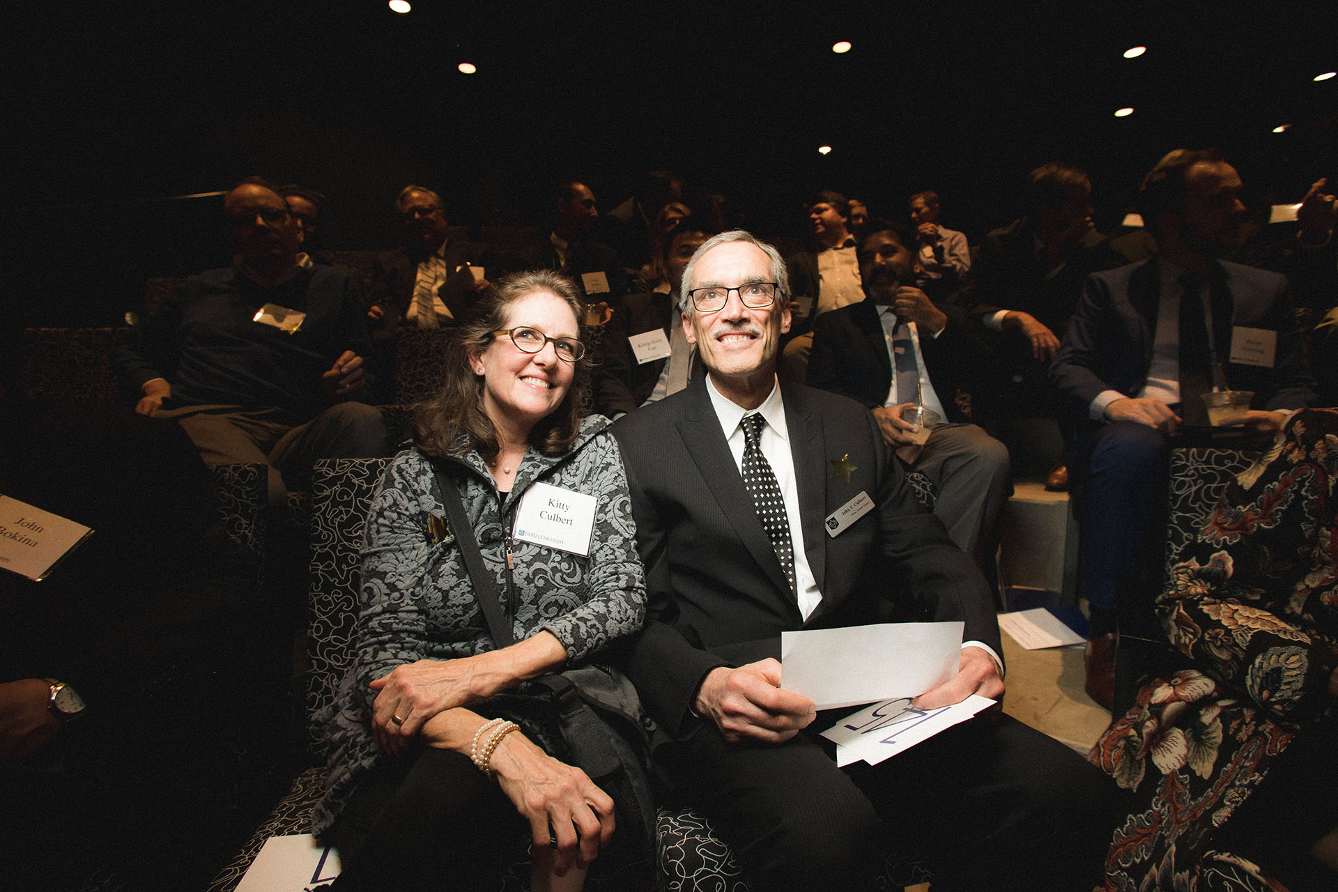 Dean John Culbert and his wife, Kitty Culbert, inside the Dr. John R. and Joyce L. Watts Theatre.